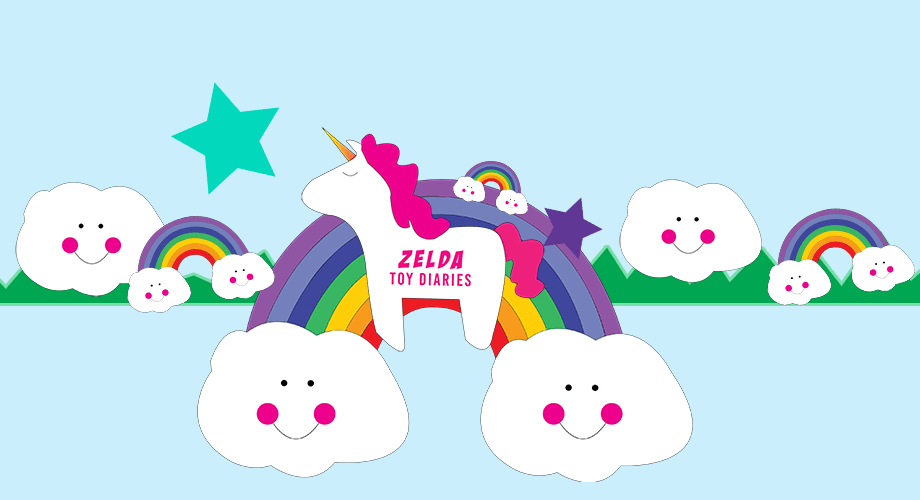 Zelda Diaries YouTube Channel with a unicorn floating over a rainbow and stars.
