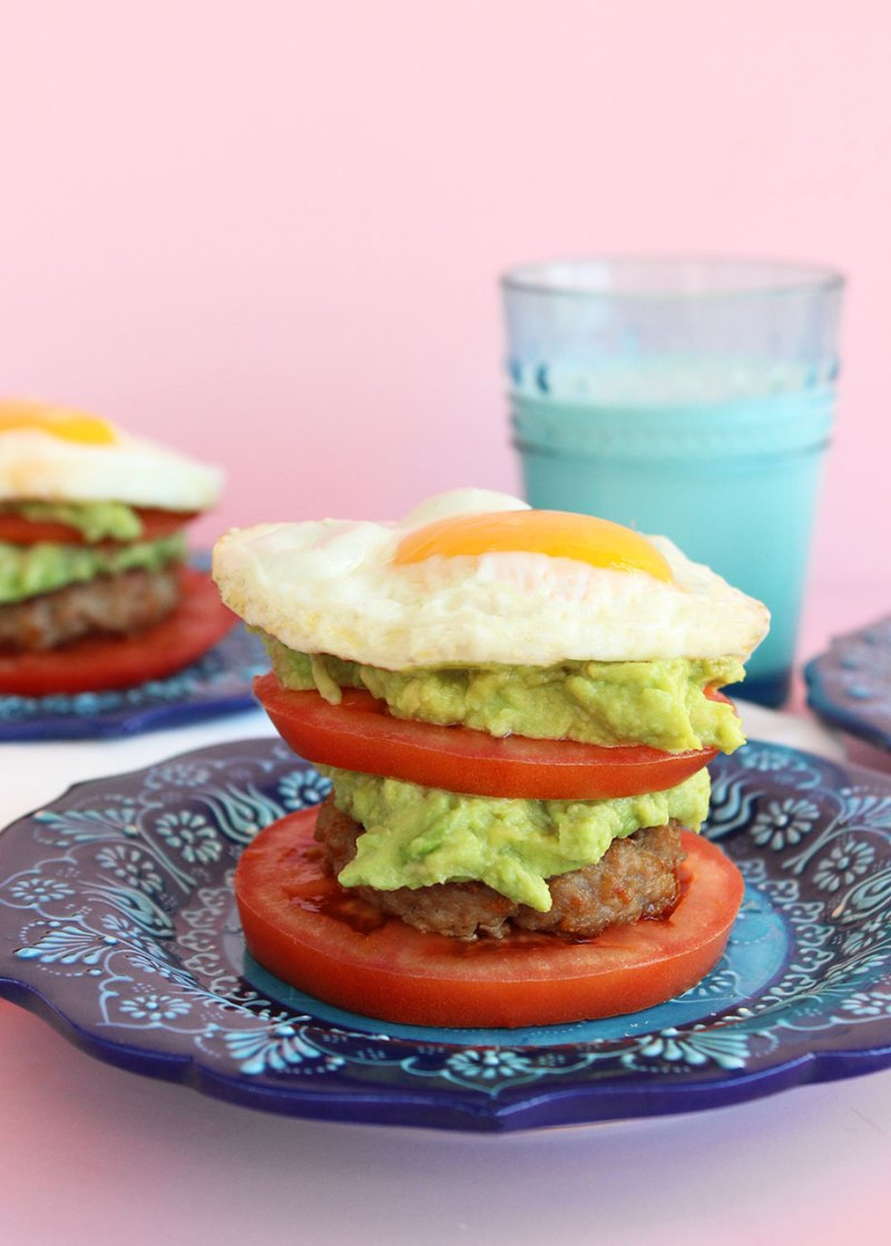 A simple avocado sausage egg stack that is Whole 30.