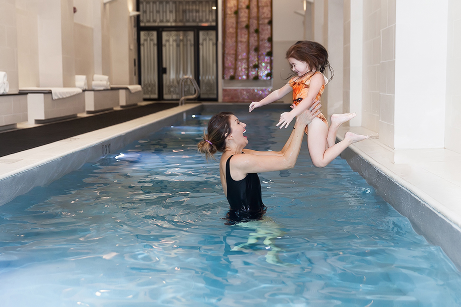 Mother Daughter pool time at the Waldorf Astoria Chicago.