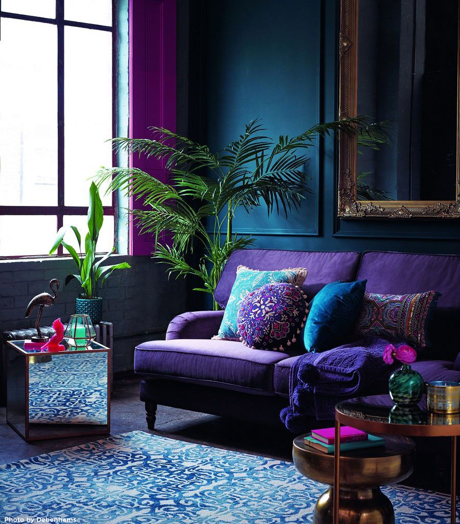 Living room home decor using Pantone's color of the year: ultra violet.