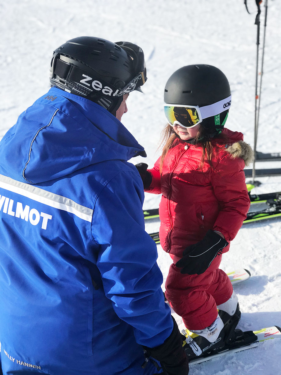 A toddler takes ski lessons at Wilmot Mountain in Wisconsin.