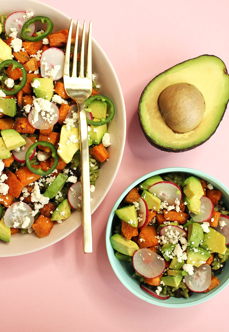 A lunch recipe for a green rice bowl by Glitter and Bubbles.