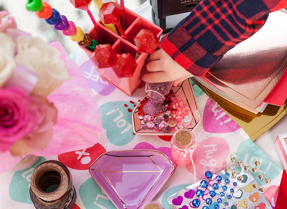 Glitter and love notes for Valentine's Day.