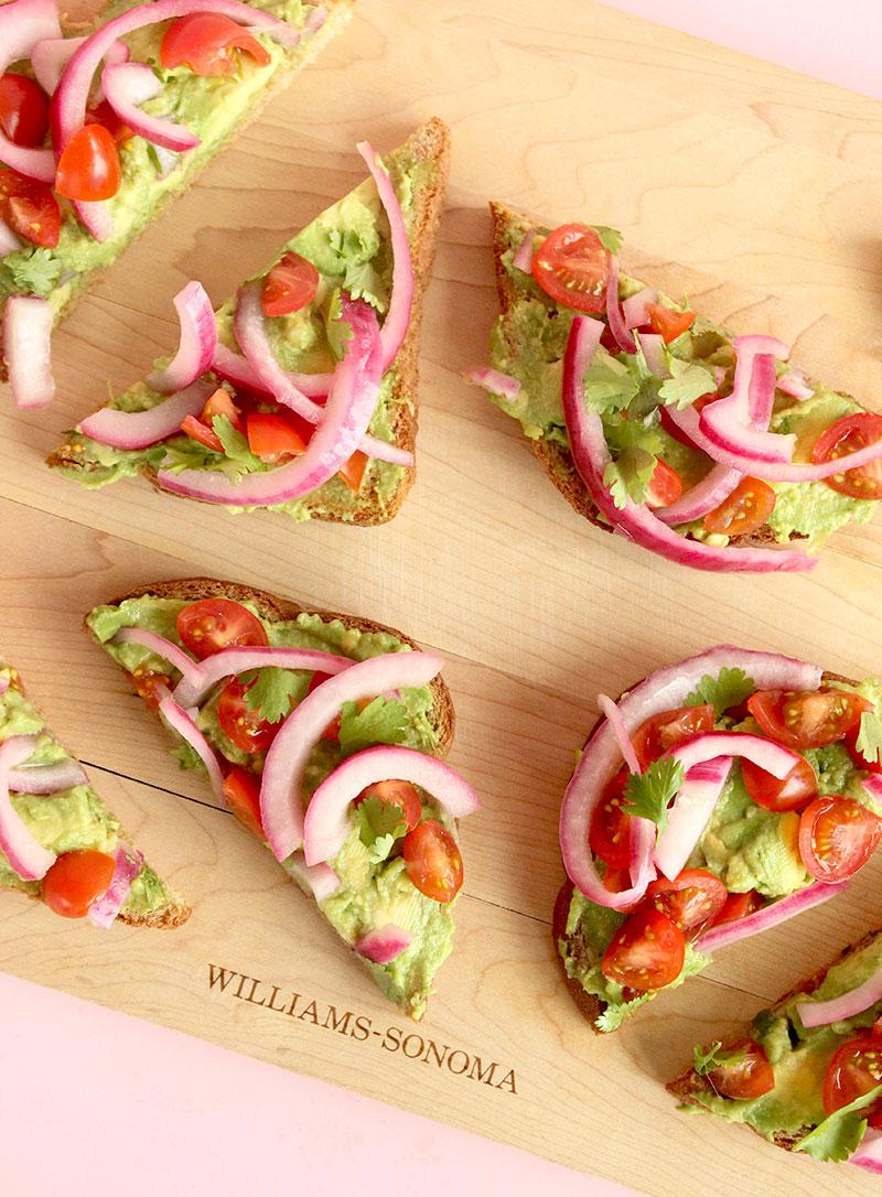 A delicious recipe for avocado toast on Glitter and Bubbles.