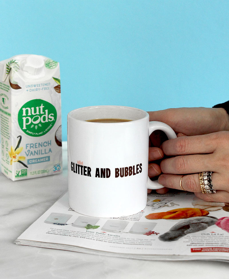 Nut Pods creamer for coffee on Glitter and Bubbles.