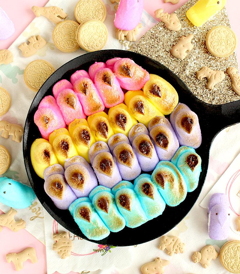 Easter Peep Dip with golden Oreos.