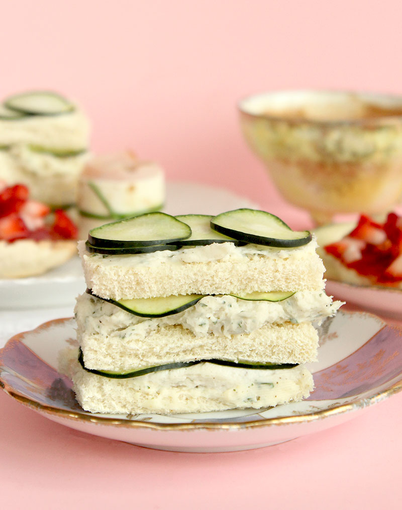 A fancy cucumber ranch sandwich for tea time.