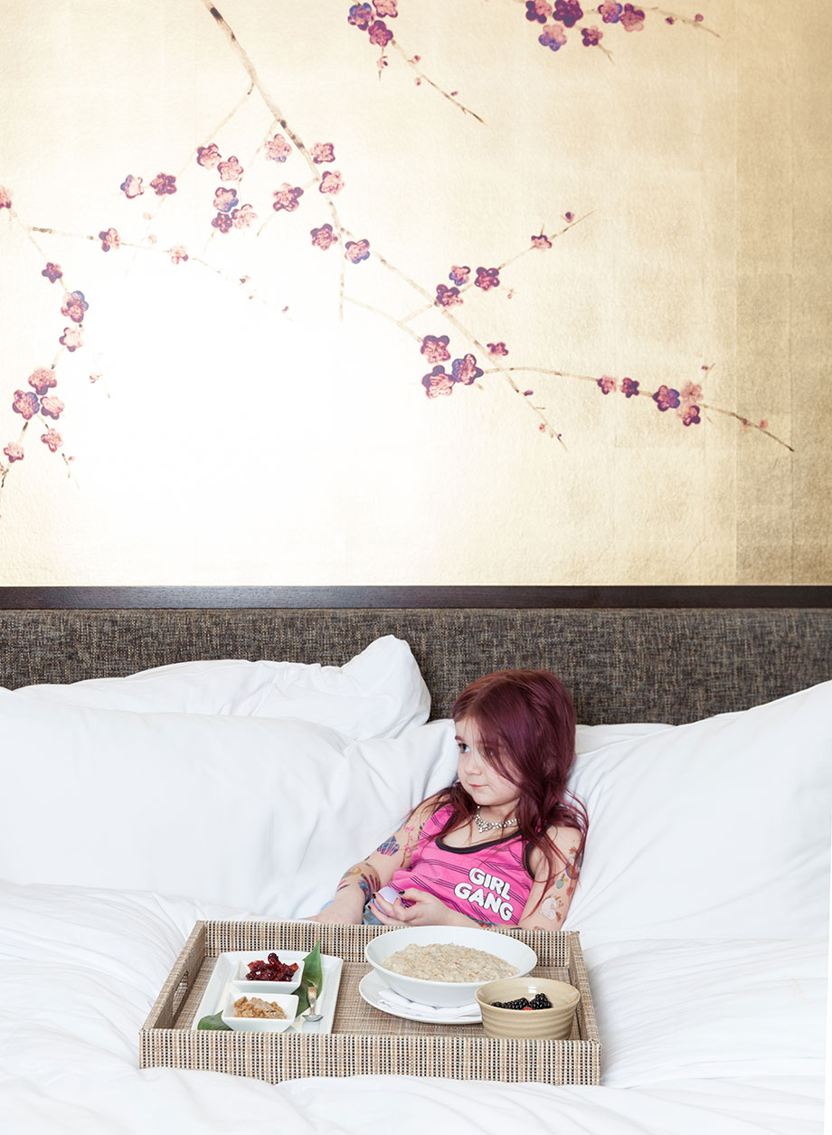 Zelda of Glitter and Bubbles gets room service at Nobu Hotel in Las Vegas.
