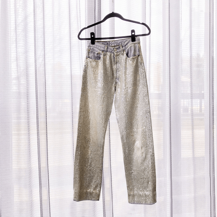 A client story from Corri McFadden on Glitter and Bubbles with sequin Levi jeans.