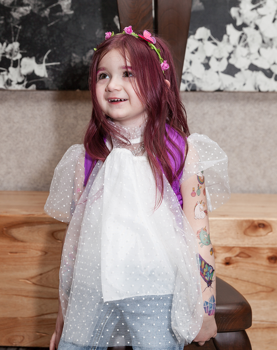 Kids summer hairstyles by Glitter and Bubbles including pink hair.