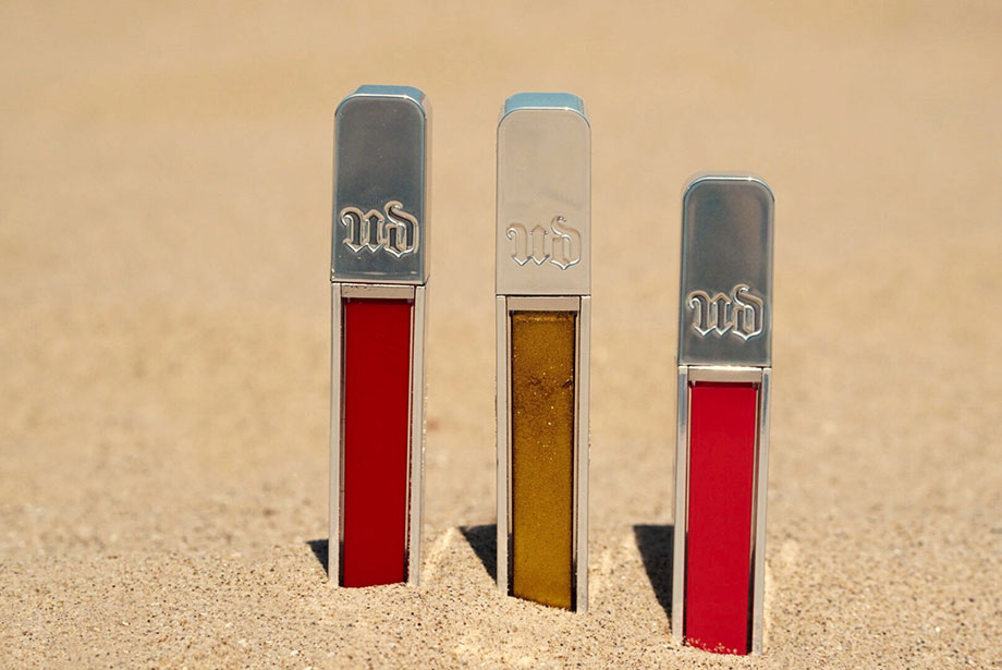 Three Urban Decay lip glosses to use at the beach.