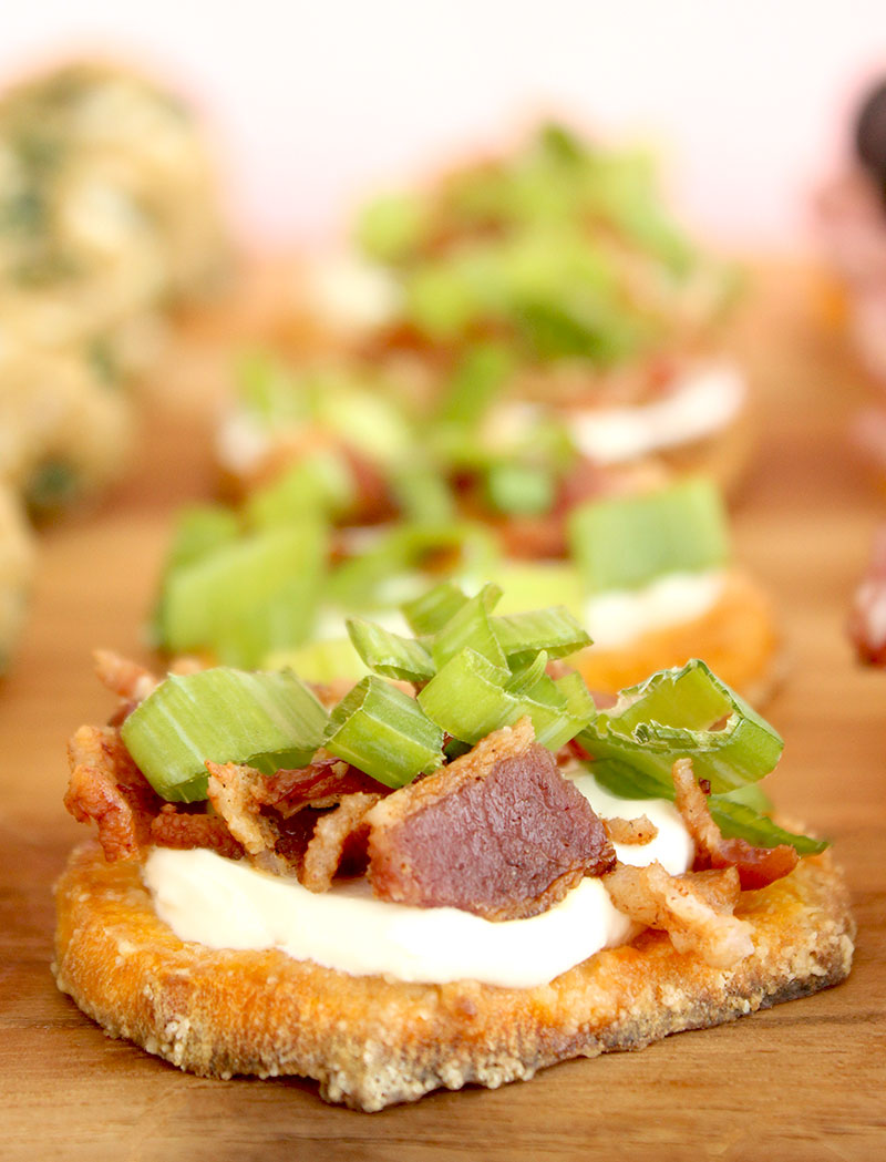 An easy recipe for loaded sweet potato rounds on Glitter and Bubbles.