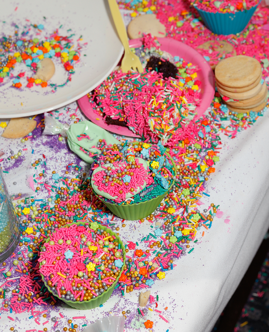 A pile of sprinkles sits on a table at Zelda's birthday party at the Swissotel on Glitter and Bubbles.