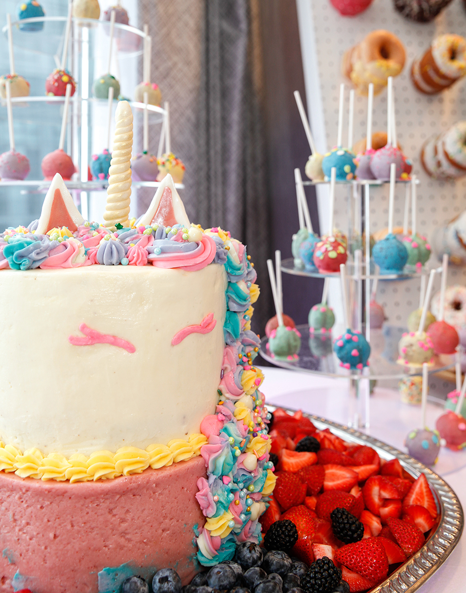 A unicorn cake for a little girl's 4th birthday party at the Swissotel in Chicago.