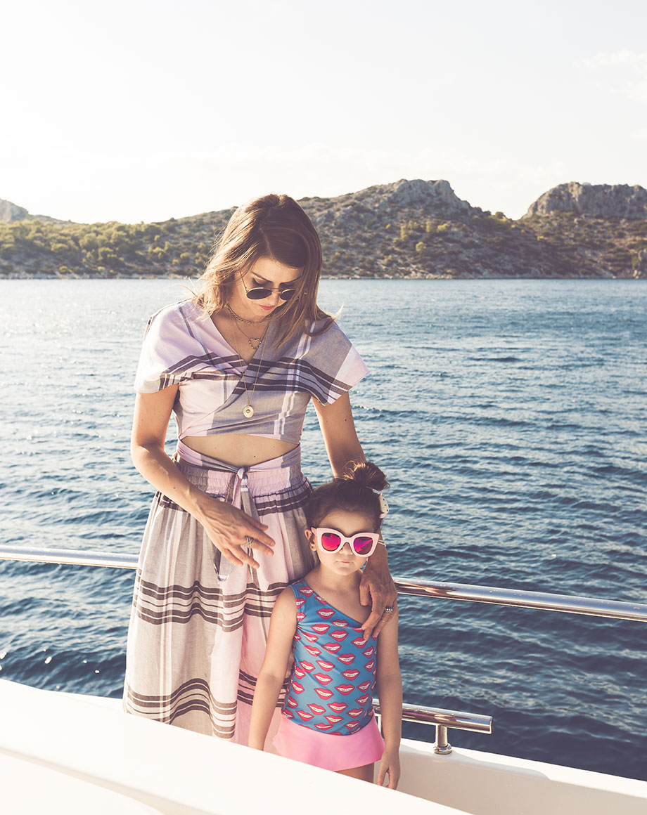 Corri McFadden and her daughter spent time together on a boat in Greece.