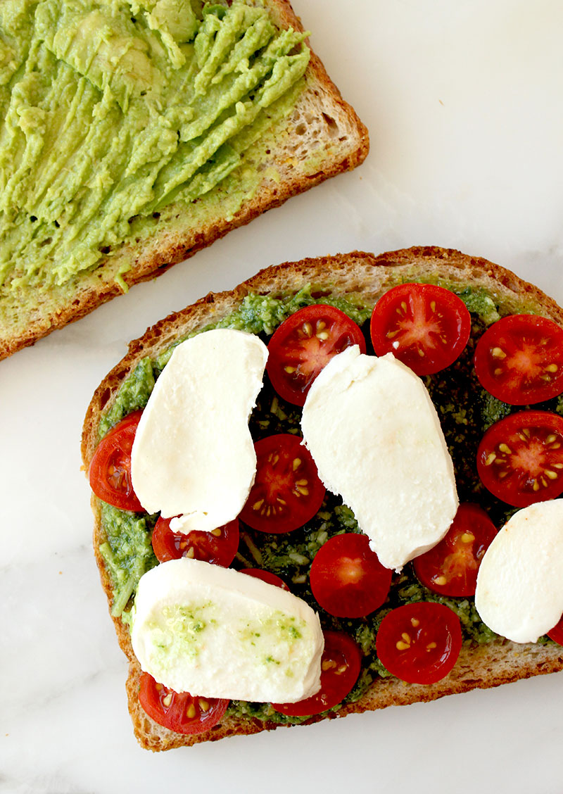 The best grilled sandwiches with tomato, mozzarella and avocado on Glitter and Bubbles.