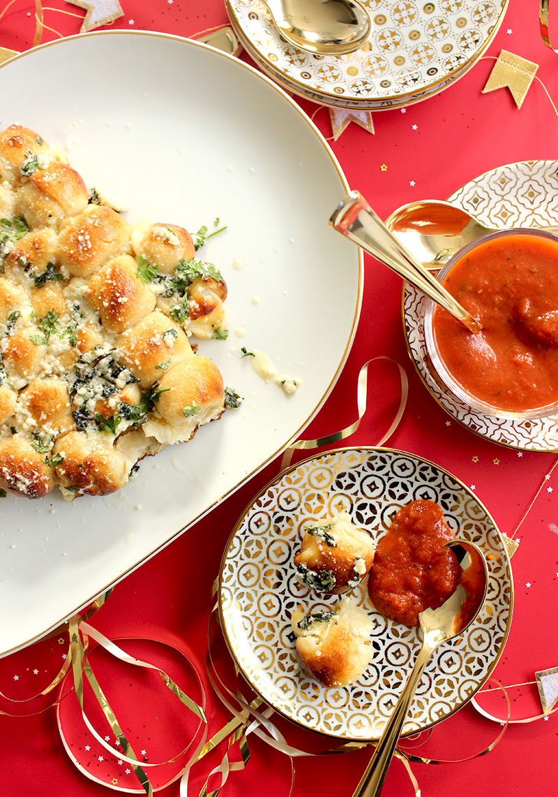 A holiday table filled with delicious appetizers.