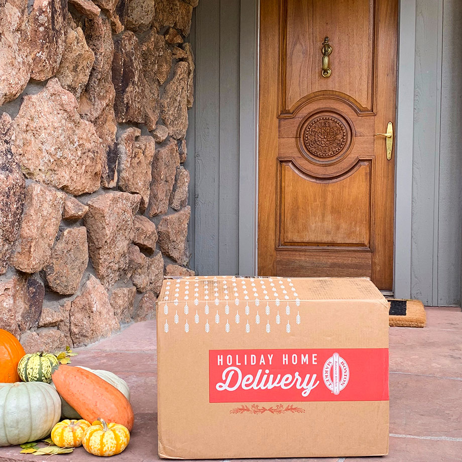 Boston Market Thanksgiving Home Delivery sits on Corri McFadden's doorstep.