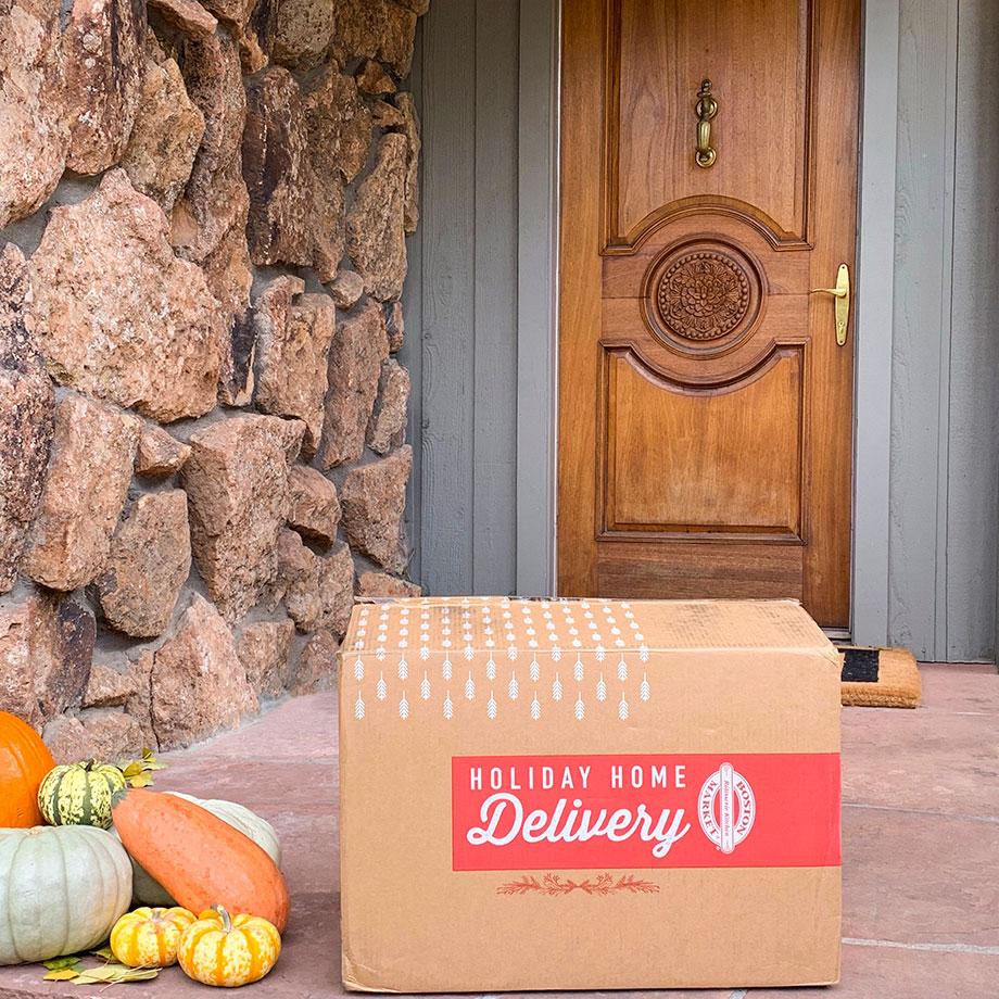 Boston Market Thanksgiving Home Delivery sits on Corri McFadden's doorstep.