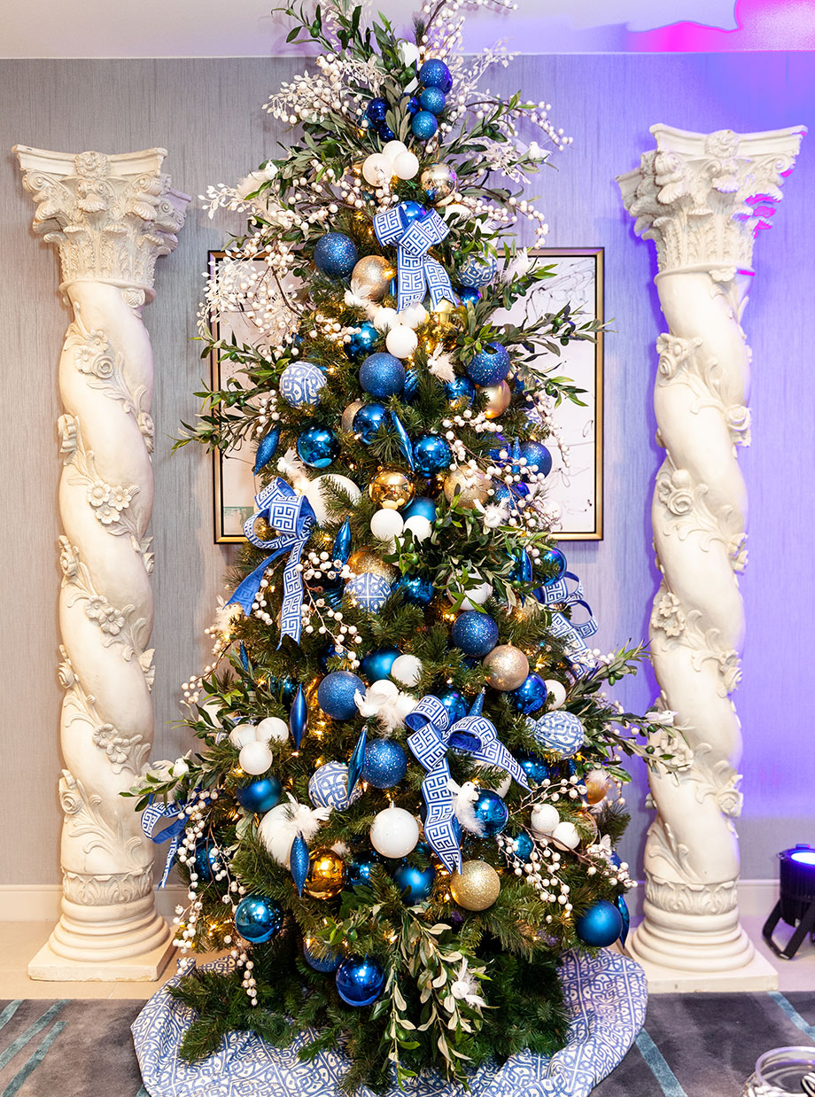 A Greek Christmas tree at the Swissotel Santa Suite.