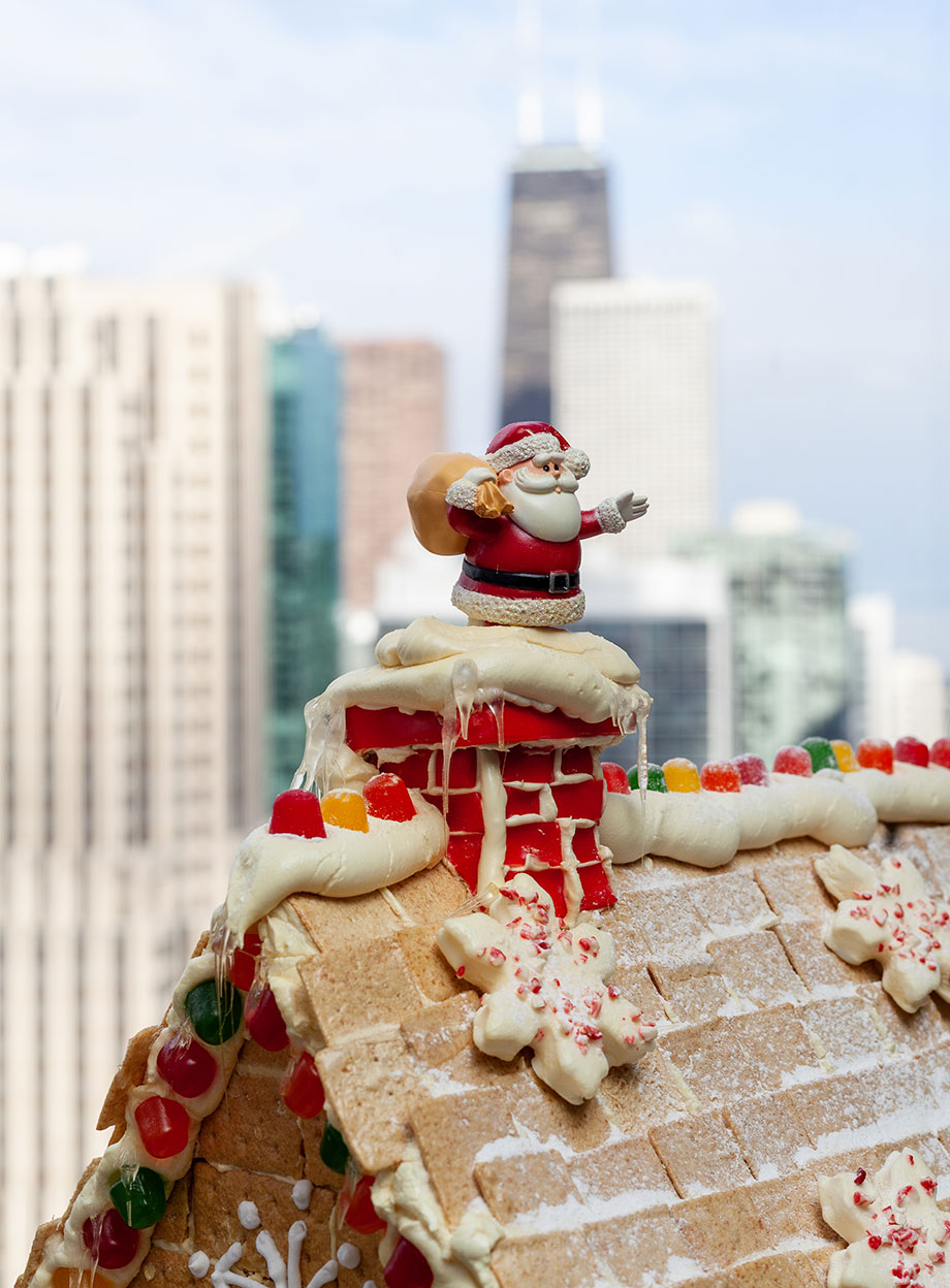 The top of the gingerbread house with Santa.