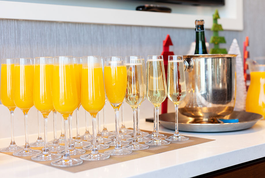 Mimosas for breakfast at the Swissotel.
