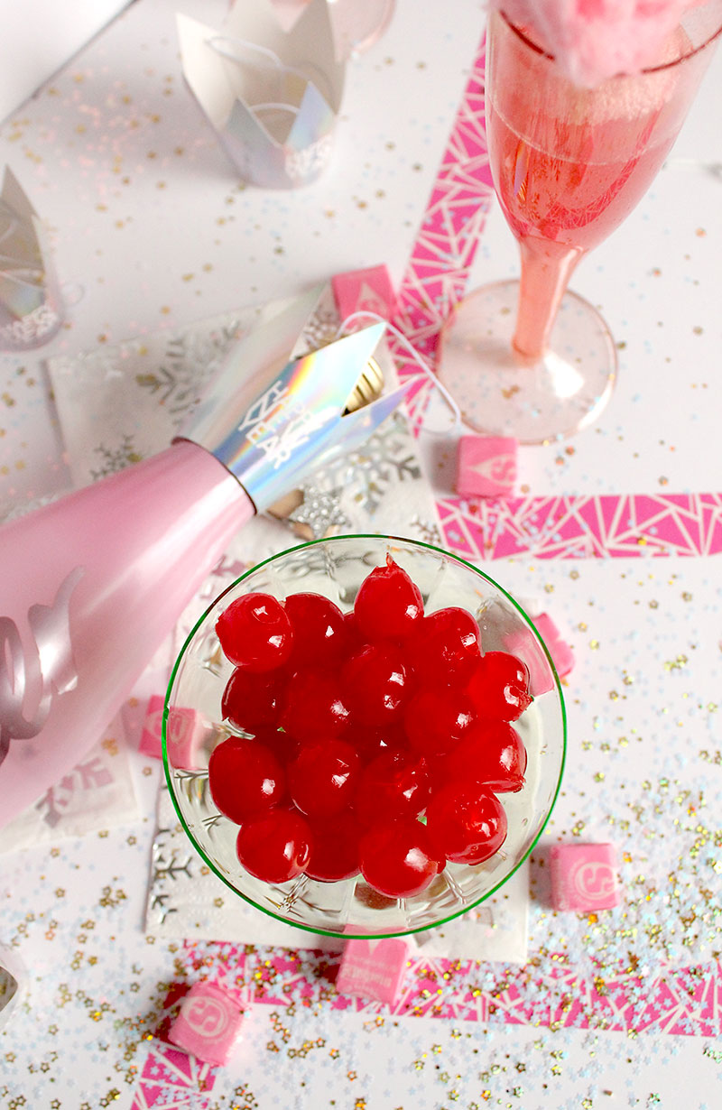 How to make a delicious cotton candy cherry cocktail on Glitter and Bubbles.
