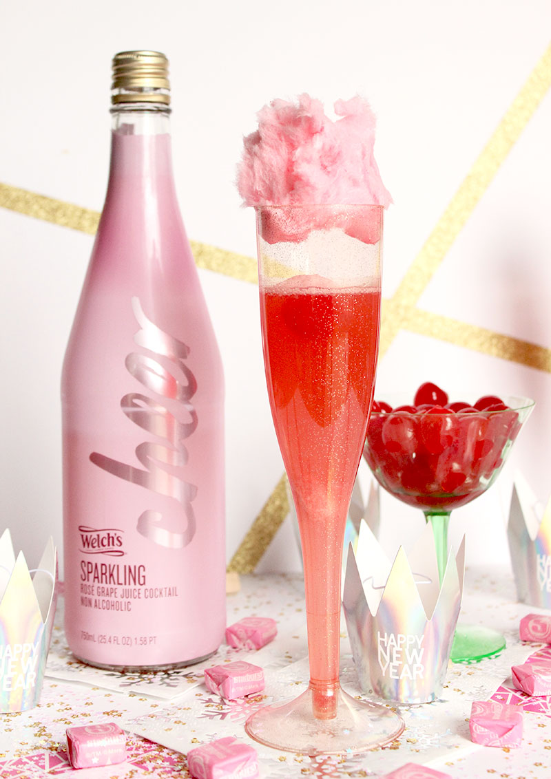An easy recipe for cotton candy cherry mocktails.