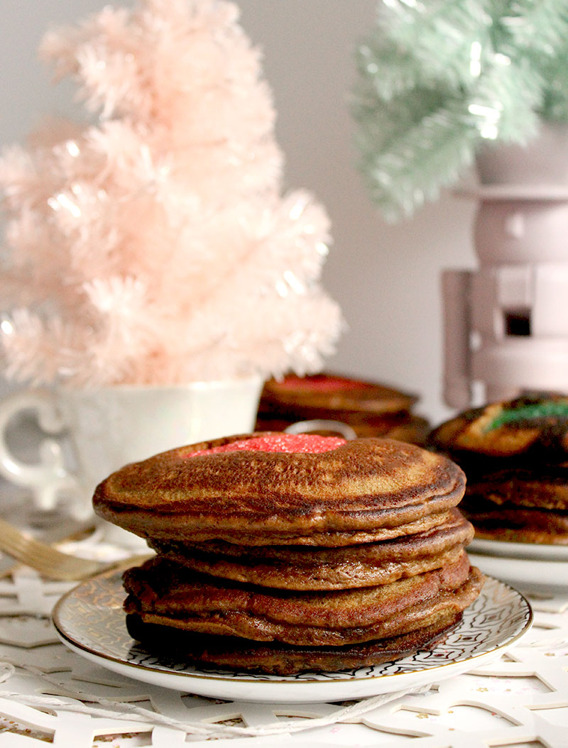 A stack of Gingerbread Pancakes sits on a gold plate.
