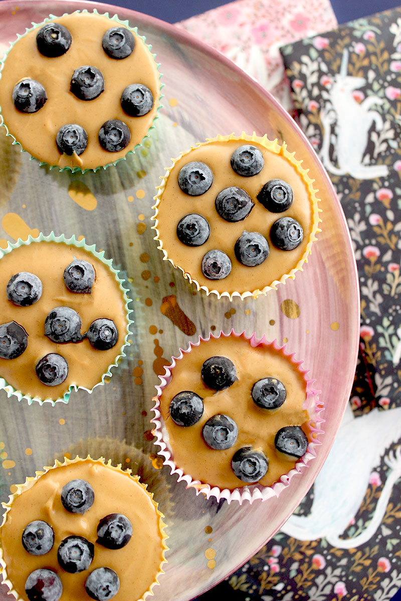 An easy to make back to school snack with peanut butter blueberry cups.