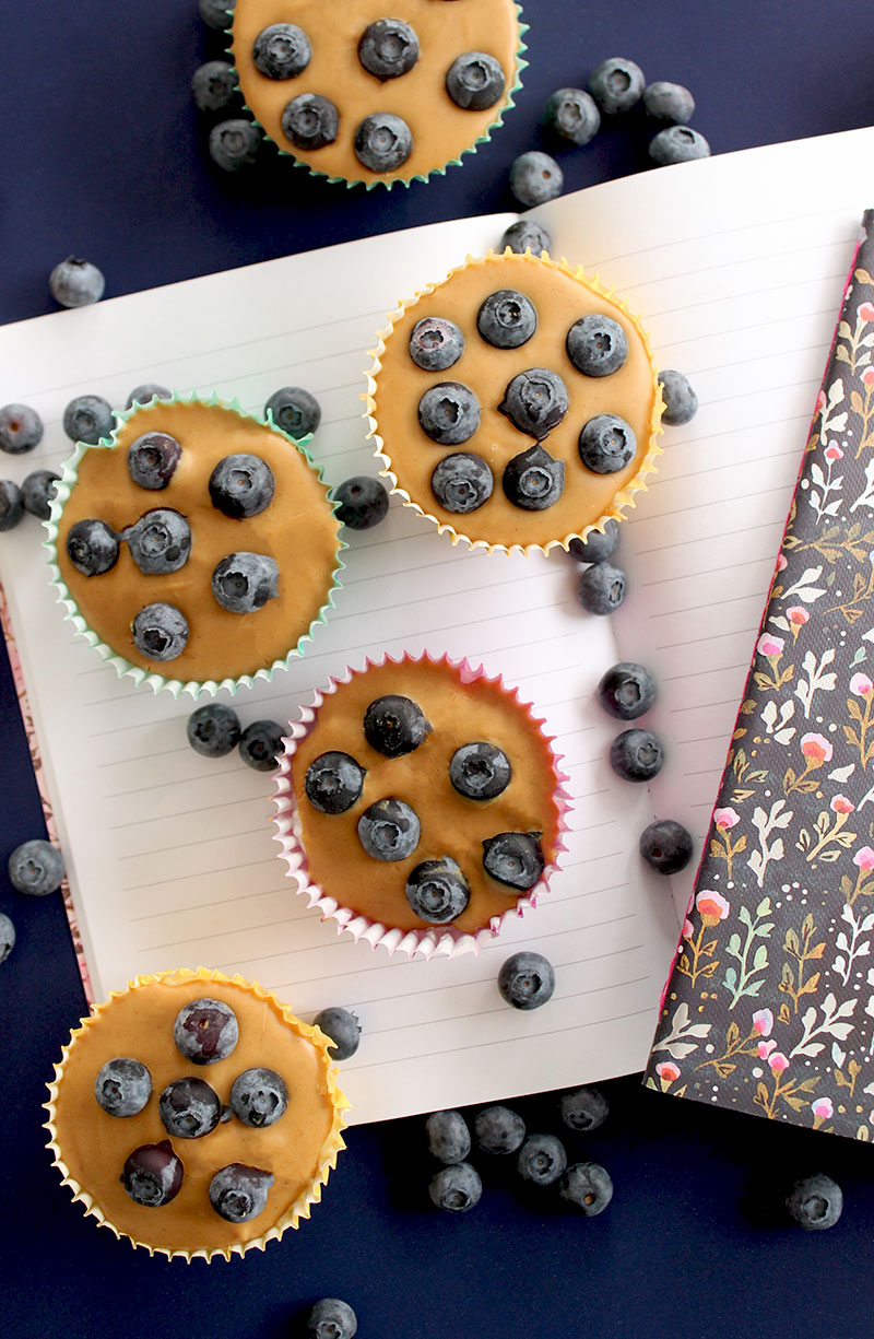 Peanut Butter Blueberry Cups filled for back to school.