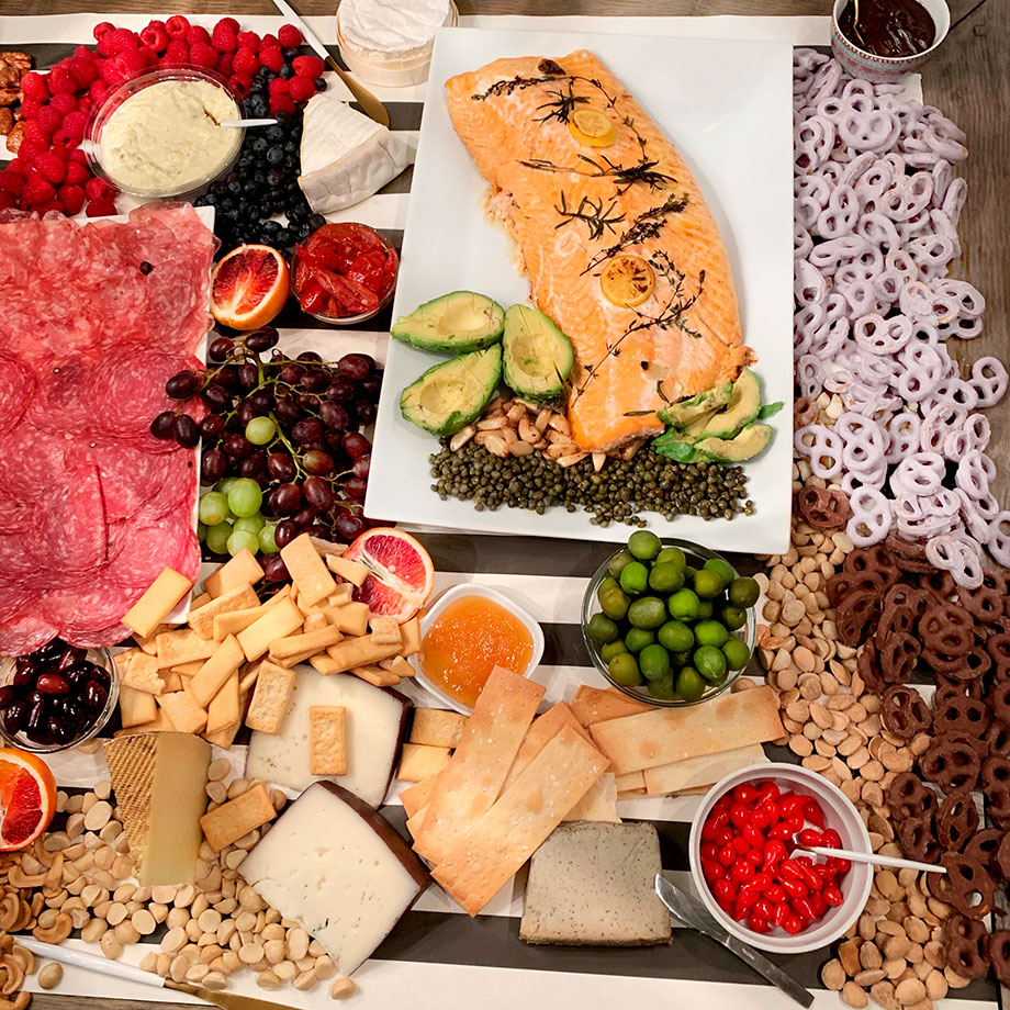 The perfect set up of meat, cheese, and fish for your next party.
