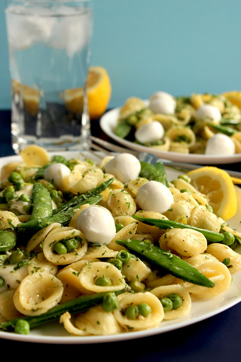 A delicious recipe for snap pea Orecchiette with mozzarella cheese.