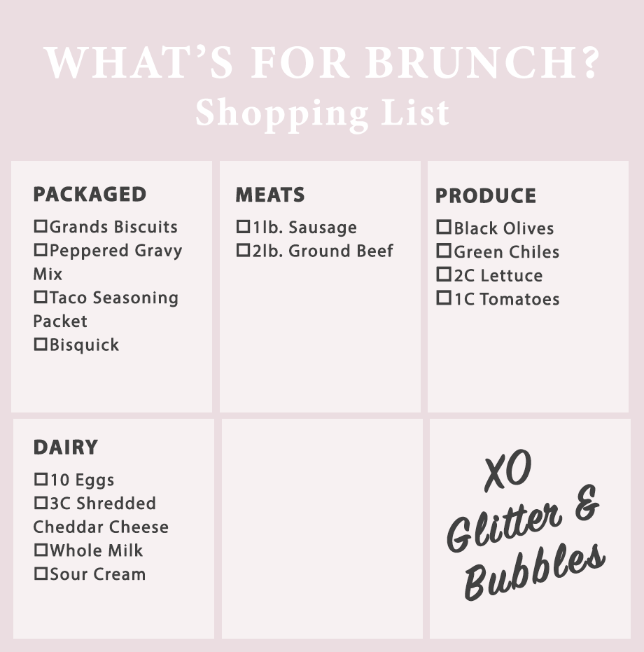 A brunch shopping list for taco bake and more.