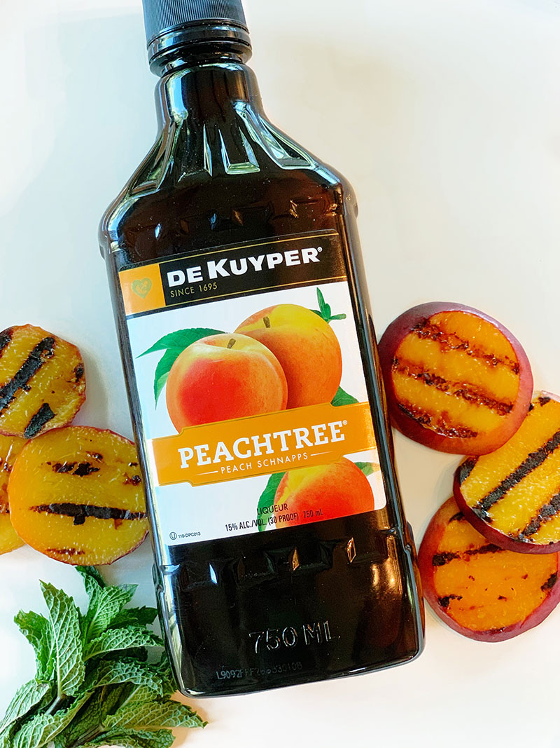A delicious bottle of Peachtree for Mojitos.