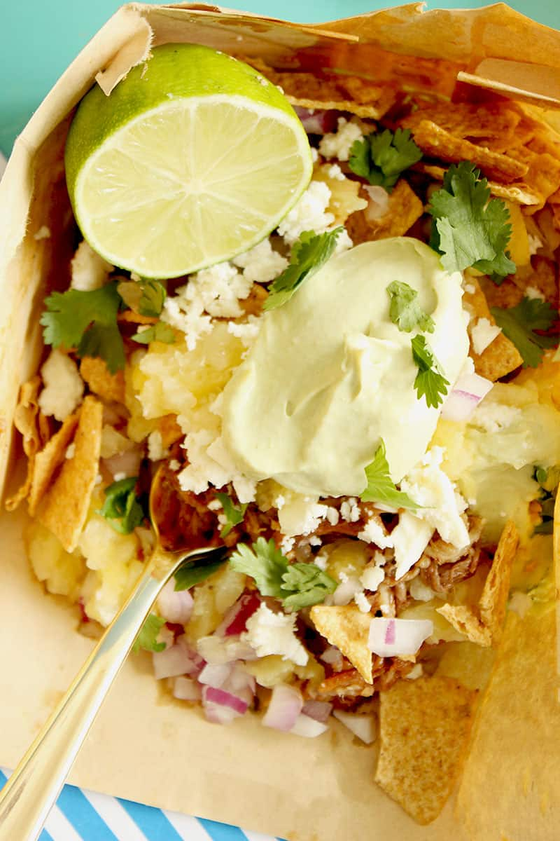 How to make the best Hawaiian Pork Walking Tacos for summer with Glitter and Bubbles.