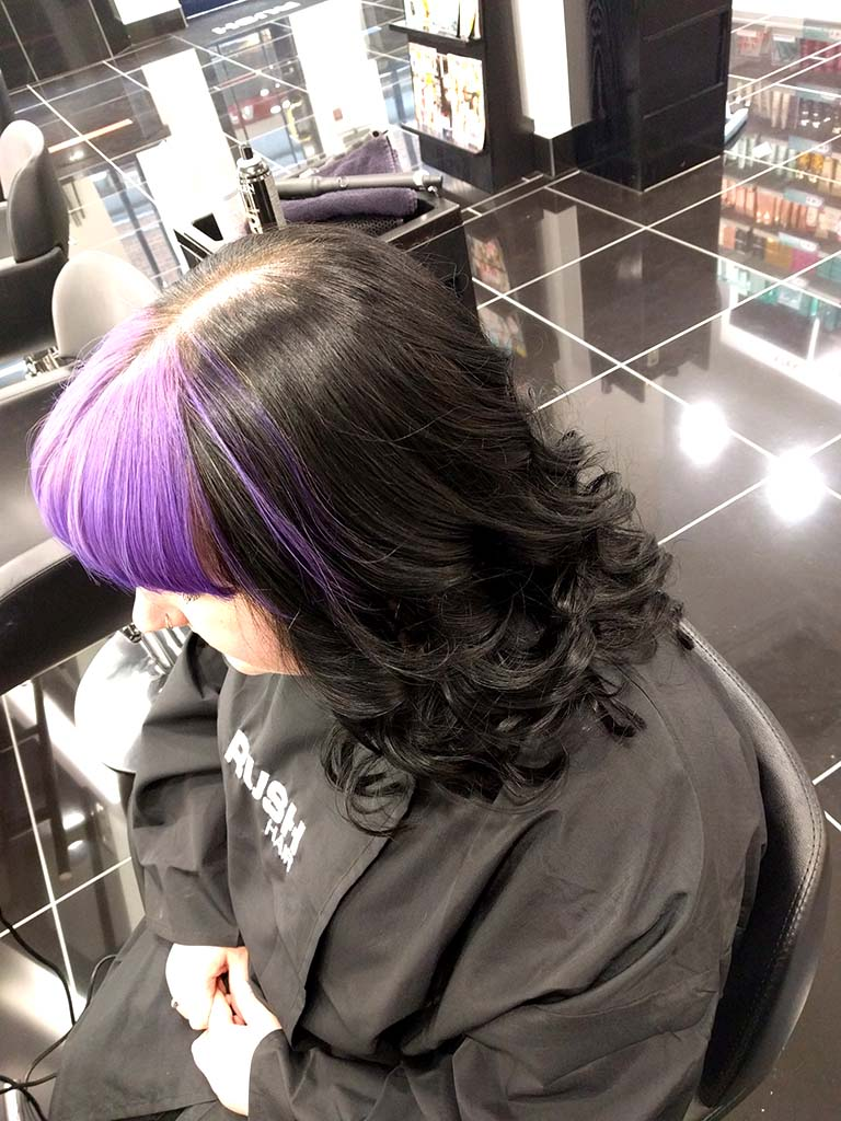 Purple Fringe And Black Hair