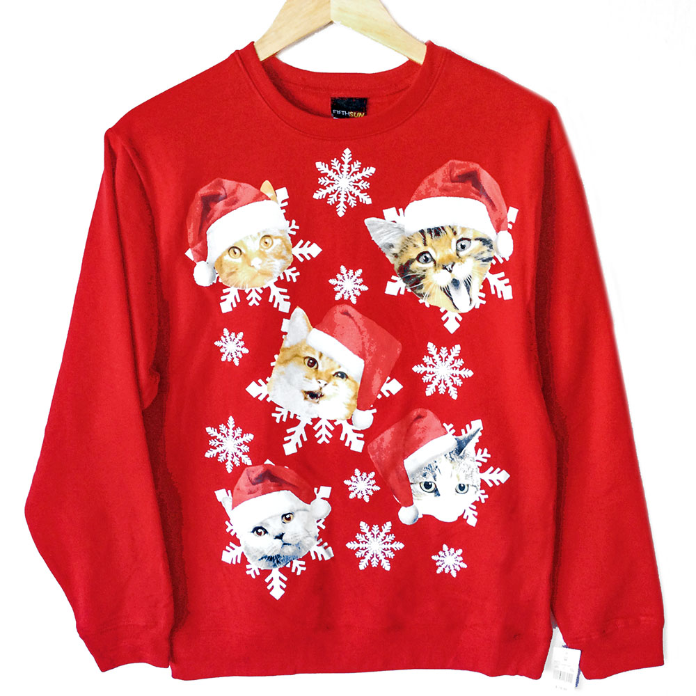 kitties in santa hats crazy cat dude ugly christmas sweatshirt - Ugly Christmas Hats