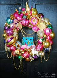 "Channeling Carmen Miranda is the delightful Tutti Fruitti Wreath - approx. 20"" - $265 with storage bag *SOLD*"
