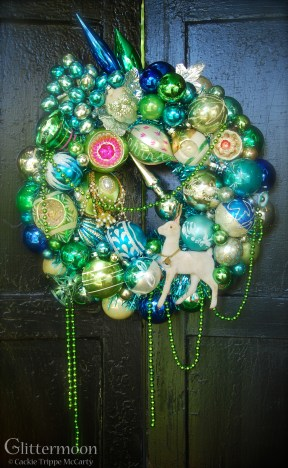 "SEA HOLLY. A paean to the beautiful colors of the sea with a holiday twist. 17"" diameter $265 SOLD"