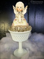 Sweet June angel in a vintage milk glass sherbet dish $32 *SOLD*