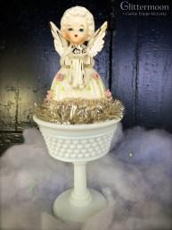 Sweet June angel in a vintage milk glass sherbet dish $32 *SOLD*