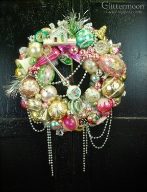 Pink & Green Fantasy Wreath. Lovely pastel shades. Custom order. *SOLD*