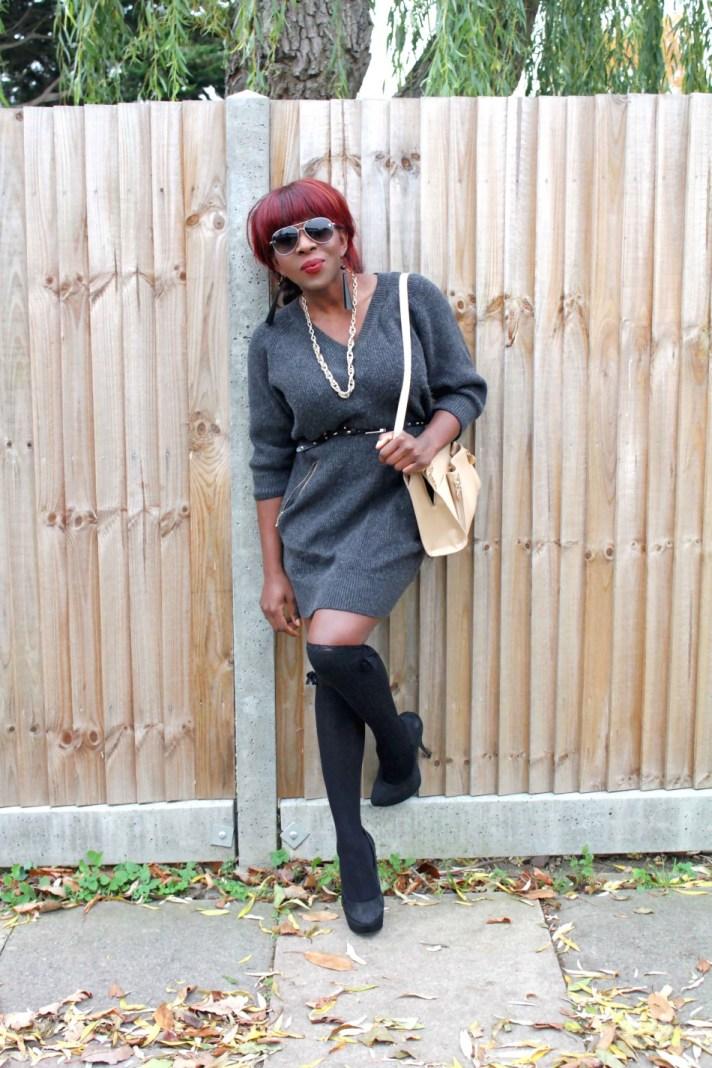 Sweater Dress and knee-high socks