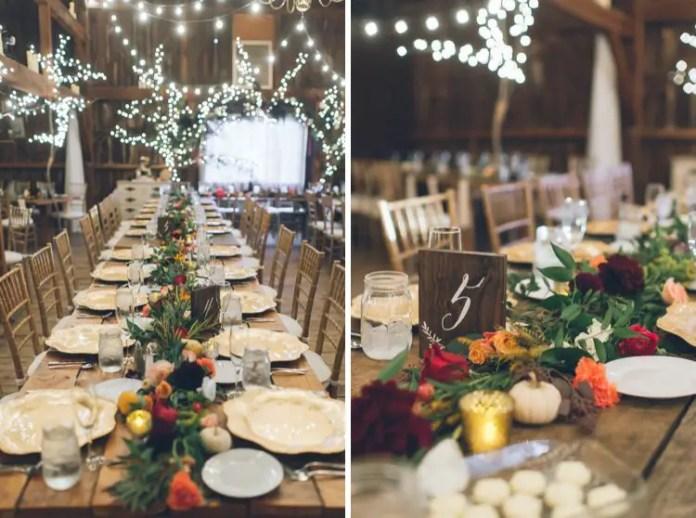 wedding rustic barn table setting