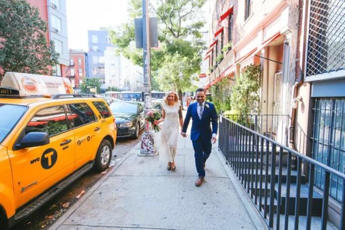 bride and groom nyc walking