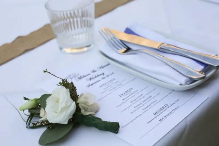 wedding table setting menu