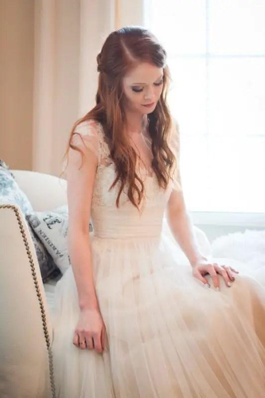 bride sitting looking down