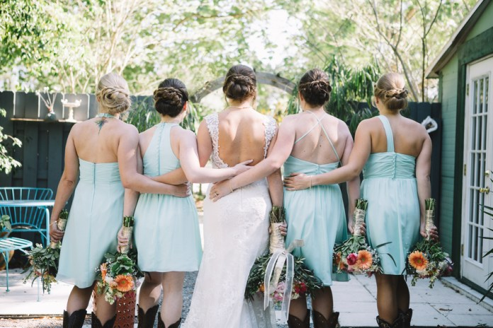 bridesmaids with boots