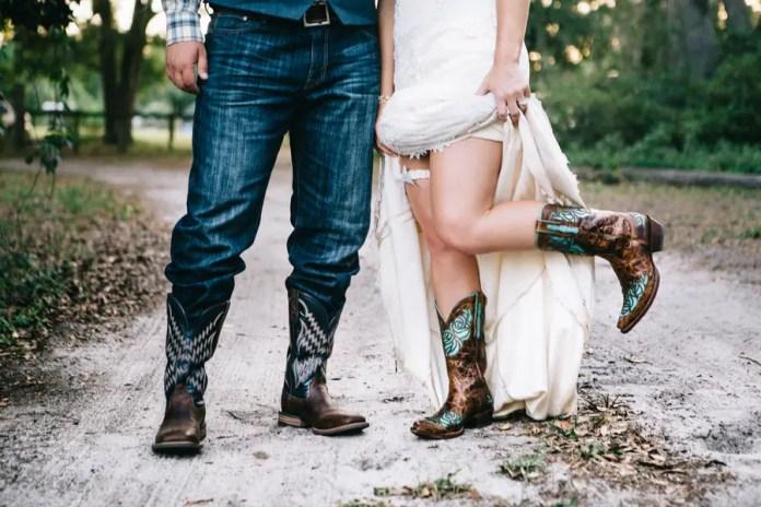 bride and groom cowboy boots